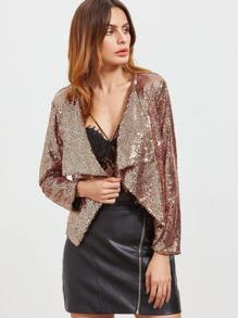 Golden Sequins Draped Collar Blazer