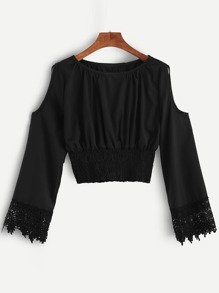 Black Open Shoulder Crochet Cuff Shirred Blouse