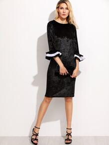 Black Layered Ruffle Cuff Velvet Dress