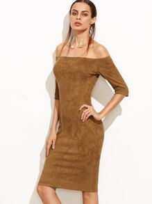Camel Faux Suede Off The Shoulder Pencil Dress