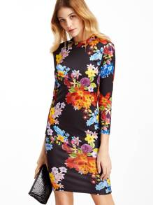 Black Flower Print Open Back Sheath Dress