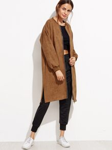 Khaki Slit Side Zip Front Suede Coat