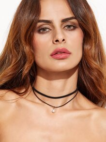 Black Layered Faux Pearl Choker Necklace
