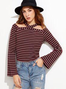 Burgundy Striped Cold Shoulder Halter T-shirt