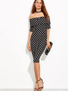 Black Polka Dot Print Foldover Off The Shoulder Dress