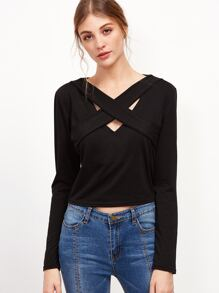 Crisscross Front Crop T-shirt