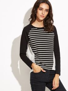Black And White Striped Raglan Sleeve T-shirt