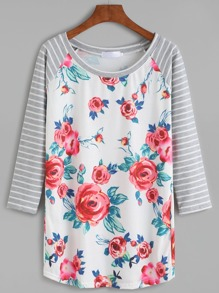 Contrast Raglan Sleeve Flower Print Striped T-shirt