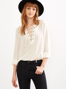 White Lace Up V Neck High Low Blouse