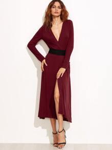 Burgundy Surplice Wrap Dress With Contrast Belt