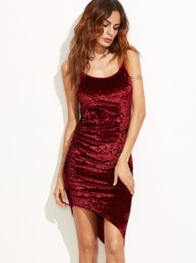 Burgundy Ruched Asymmetric Velvet Cami Dress