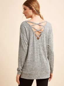 Grey Cross Back Slit Side Sweatshirt