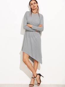 Light Grey Long Sleeve Asymmetric Tee Dress
