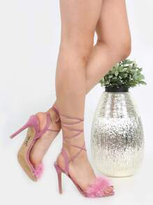 Tie Up Suede Feather Heels MAUVE