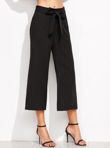 Black Self Tie Wide Leg Pants