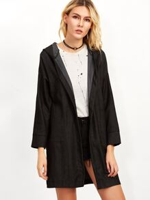 Black Drop Shoulder Hooded Denim Coat