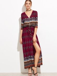 Tribal Print V Neck Button Front Dress