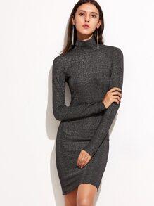Shiny Black High Neck Long Sleeve Dress