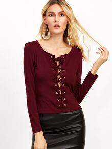 Burgundy Lace Up Scoop Neck Long Sleeve T-shirt