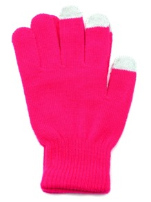 Hot Pink Knit Telefingers Gloves