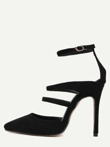 Black Faux Suede Point Toe Mary Jane Pumps