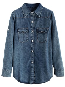 Navy Pockets Stone Wash Denim Blouse