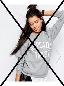 Heather Grey Letter Print Sweatshirt