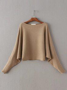 Khaki Boat Sleeve Dolman Sleeve Sweater