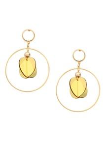 Gold Sequin Drop Hoop Earrings