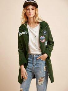Green Flocked Patch Zipper Coat