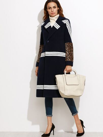 Navy Striped Leopard Sleeve Coat