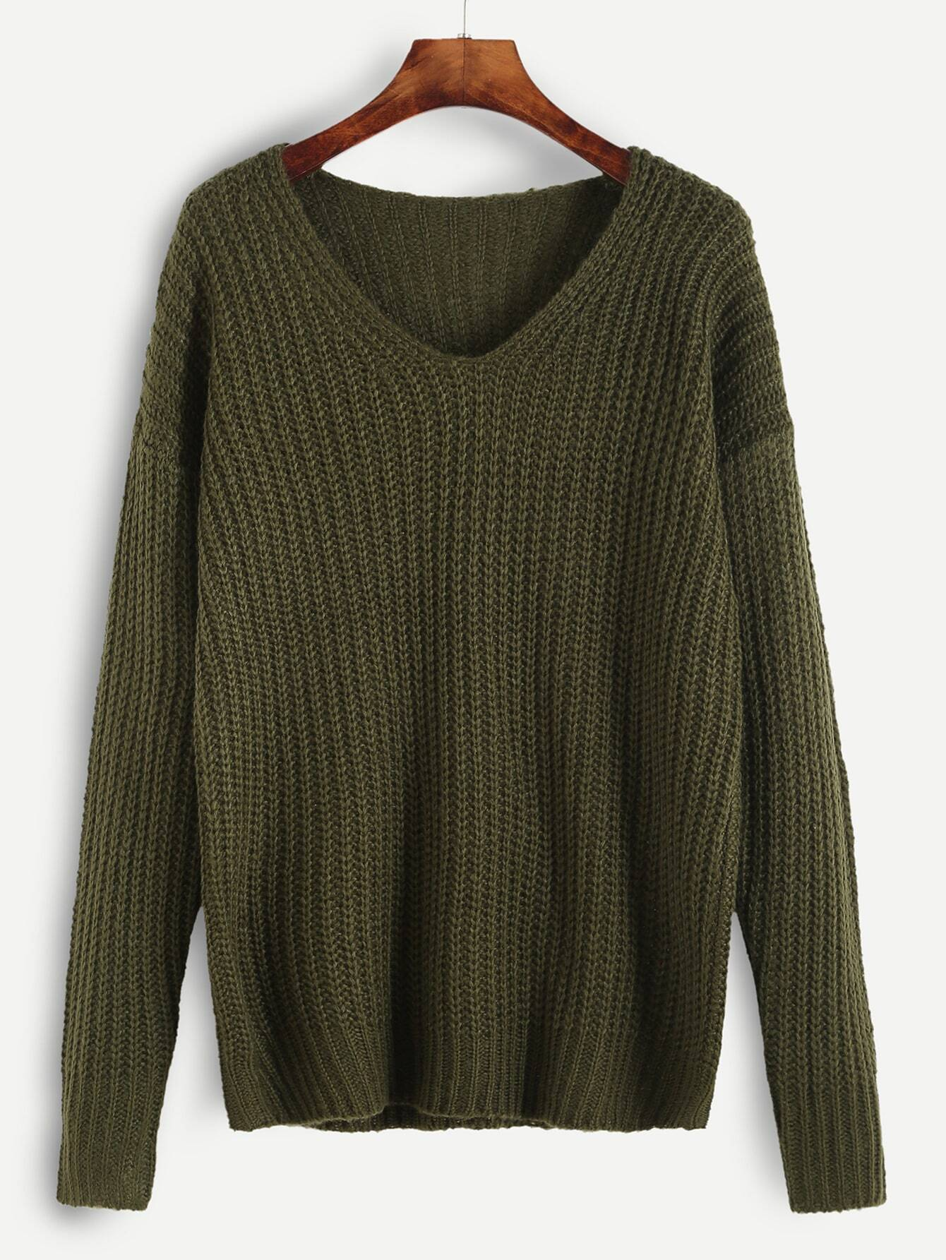 Olive Green Ribbed Knit Drop Shoulder Sweater EmmaCloth-Women Fast ...