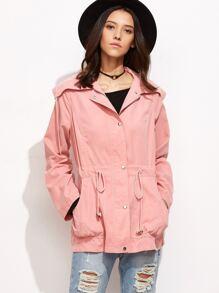 Pink Wide Collar Drawstring Utility Jacket