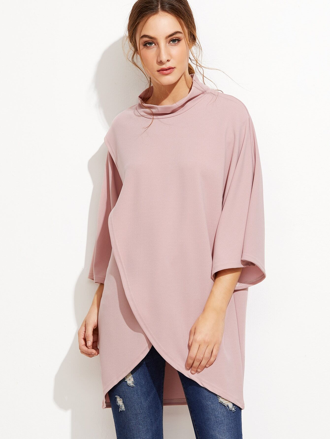 Pink High Neck Wrap Blouse EmmaCloth-Women Fast Fashion Online