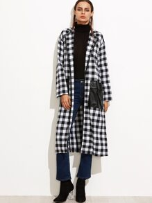Black And White Checkered Slit Wrap Coat With Oversized Pocket