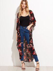 Black Floral Longline Chiffon Kimono