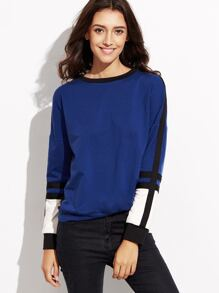 Blue Contrast Panel Drop Shoulder Sweatshirt