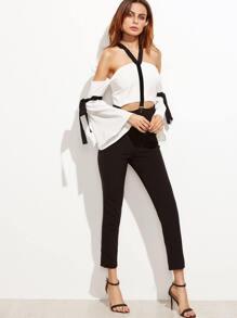 Color Block Cold Shoulder Bell Sleeve Bow Tie Jumpsuit