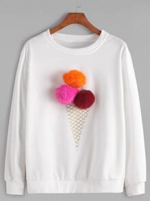 White Round Neck Pom Pom Sweatshirt
