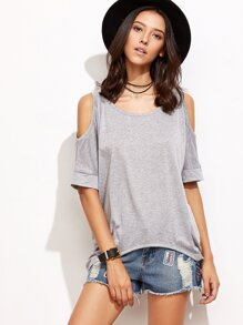 Grey Open Shoulder Elbow Sleeve High Low T-shirt