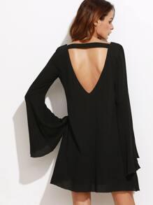 Black Open Back Bell Sleeve Dress
