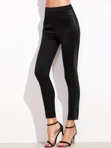 Black Mixed Media Skinny Pants With Zip Pocket