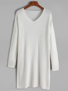 White V Neck Drop Shoulder Sweater Dress