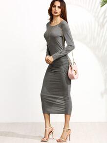Heather Grey Ruched Slit Back Pencil Dress