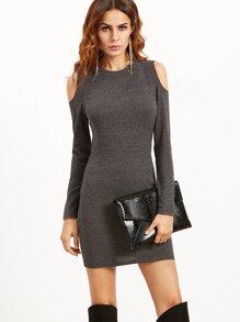 Grey Open Shoulder Ribbed Bodycon Dress