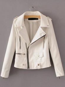 White Oblique Zipper PU Moto Jacket