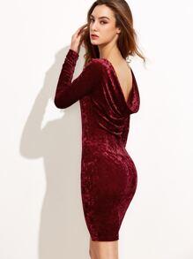 Burgundy Draped Back Velvet Bodycon Dress