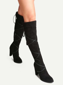 Black Point Toe Tie Back Fold Over Boots