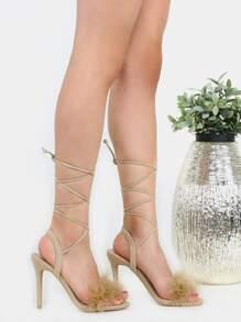Feather Lace Up Heels BEIGE