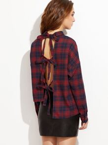 Navy And Red Plaid Split Tie Back Asymmetric Blouse